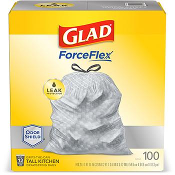 ForceFlex Tall Kitchen Drawstring Bags, 13 gal, .90mil, 24x25 1/8 White 100/Bx