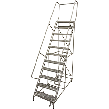 "Cotterman® Series 1000 Rolling Metal Ladder, 20"" Deep Serrated Metal Tread Top Step, 11 Steps"
