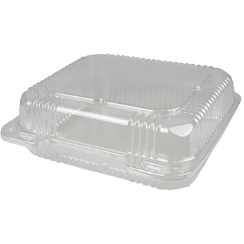 """Duralock Container, Hinged Lid, Plastic, Clear, 8"""" x 8"""" x 3"""", 250/CT"""