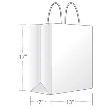 Duro Bag WHITE SHOPPING BAG, 13 X 7 X 17,  65 LB, MART 250/CT