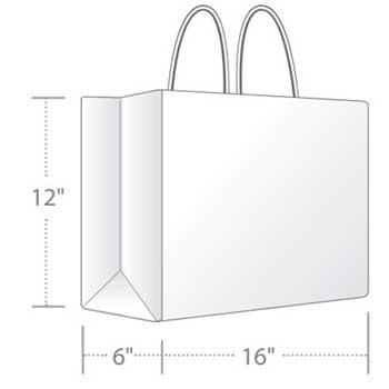 """Duro Bag White Tote Shopping Bag, 16"""" x 6"""" x 12"""", 65 lb., 250/CT"""