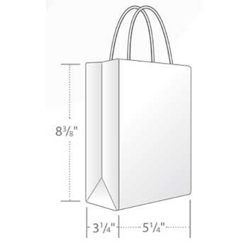 "Duro Bag White Gem Shopping Bag, 5.25"" x 3.25"" x 8 3/8"", 70 lb., 250/CT"