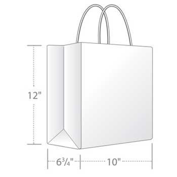 "Duro Bag Bistro Shopping Bag, Kraft, 10"" x 6.5"" x 12"", 60 Lb., 250/CT"