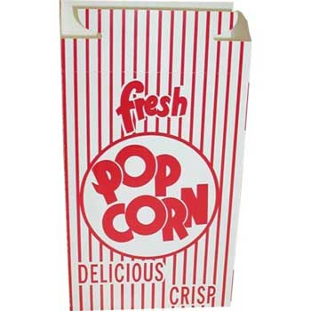 Dixie® Red Automatic Bottom Popcorn Box With Hook And Eye Reclose Top, 250/CT