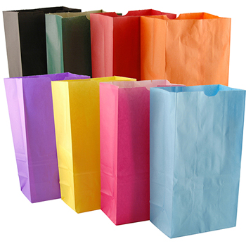 """Hygloss Paper Bags, Assorted Colors, 6"""" x 3.5"""" x 11"""",28/PK"""