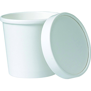Food Container Combo, White with Vented Paper Lid, 16 oz., 250/CS