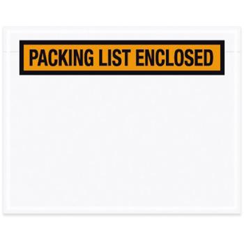 """Packing List Enclosed"" Envelopes, Panel Face, 4.5"" x 5.5"", Orange, 1000/CS"