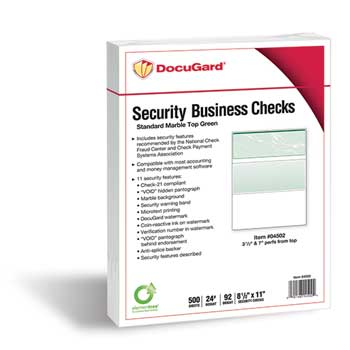 DocuGard™ Standard Security Check, Green Marble, Top, 24 lb, Letter, 500/Ream