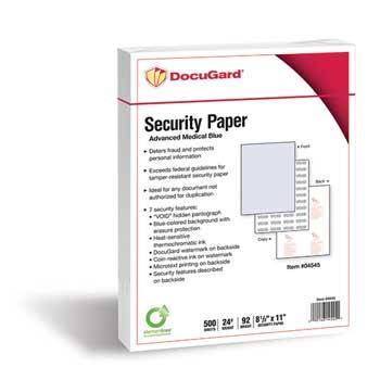 DocuGard™ 8 1/2 x 11, 24 lb, Advanced Blue Medical Security Paper, 500 Sheets/Ream