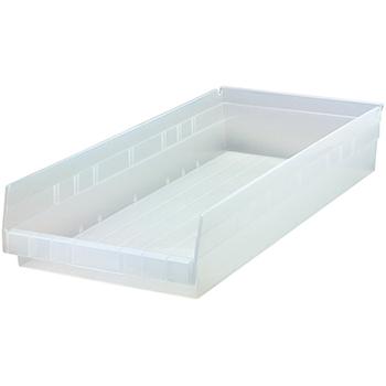 """Quantum® Storage Systems Economy Shelf Bins, 23-5/8"""" x 11-1/8"""" x 4"""", Clear, 6/CT"""