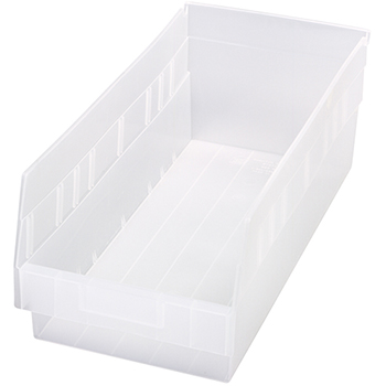 "Quantum® Storage Systems Store-More Bins, 17-7/8"" x 8-3/8"" x 6"", Clear, 10/CT"
