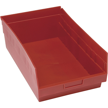 """Quantum® Storage Systems Store-More Bins, 17-7/8"""" x 11-1/8"""" x 6"""", Red, 8/CT"""