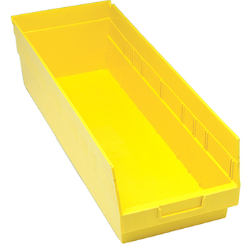 """Quantum® Storage Systems Store-More Bins, 23-5/8"""" x 8-3/8"""" x 6"""", Yellow, 6/CT"""
