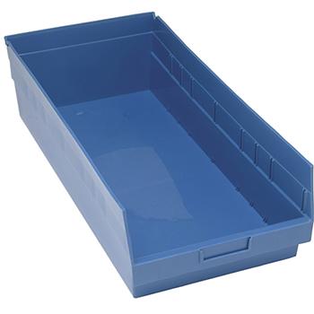 "Quantum® Storage Systems Store-More Bins, 23-5/8"" x 11-1/8"" x 6"", Blue, 6/CT"