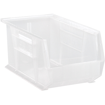 "Quantum® Storage Systems Ultra Stack & Hang Bins, 14-3/4"" x 8-1/4"" x 7"", Clear, 12/CT"