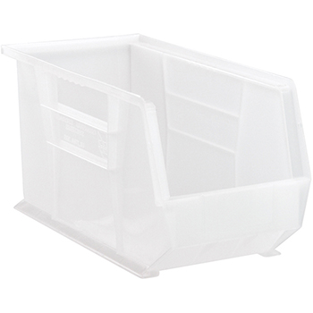 """Quantum® Storage Systems Ultra Stack & Hang Bins, 18"""", x 8-1/4"""" x 9"""", Clear"""