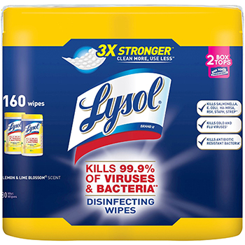 Disinfecting Wipes, Lemon/Lime Blossom, 7 x 8, 80/Canister, 2/Pack, 3 PK/CT