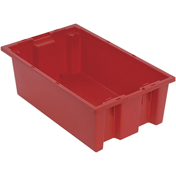 """Quantum® Storage Systems Genuine Stack & Nest Totes, 18"""" x 11"""" x 6"""", Red"""