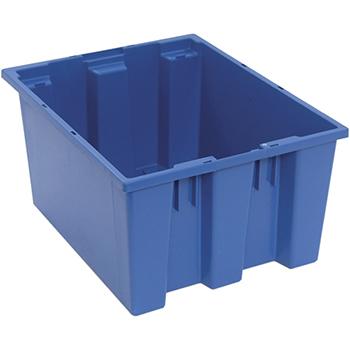 "Quantum® Storage Systems Genuine Stack & Nest Totes, 19-1/2"" x 15-1/2"" x 10"", Blue"