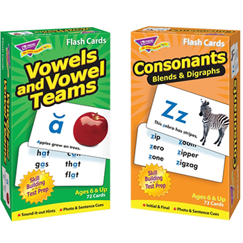 Vowels and Consonants Skill Drill Flash Cards Assortment, 2/PK