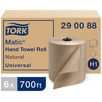 Matic® Universal Paper Towel Roll H1, Hand Towel, 1-Ply, Natural, 6 Rolls x 700 ft