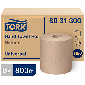 """Tork® Universal Paper Hand Towel Roll, Y-Notch, 1-Ply, 8.0"""" Width x 800' Length, Natural, 6 RL/CT"""