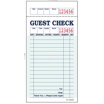 Guest Checks, Green Bond, 100 Checks/Pad, 50 Pads/CT