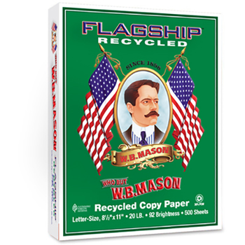 Flagship™ Recycled 30% Recycled Copy Paper, 92 Bright, 20 lb., 8 1/2 x 11, White, 500/RM