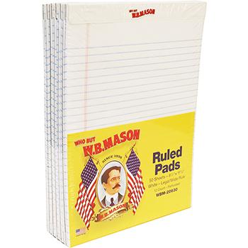 Perforated Edge Writing Pad, Legal Ruled, Letter, White, 50 Sheet, Dozen