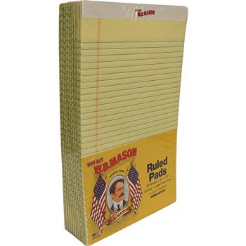 Perforated Edge Writing Pad, Legal/Margin Rule, Legal, Canary, 50 Sheet, Dozen