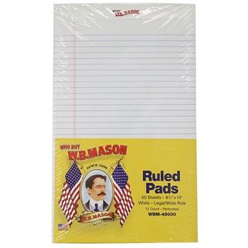 Perforated Edge Writing Pad, Wide/Margin Rule, Legal, White, 50 Sheet, Dozen