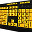 Adesso EasyTouch 132 - Luminous 4X Large Print Multimedia Desktop Keyboard - Cable Connectivity - USB Interface - 122 Key - English (US) - PC, Mac, iOS - Membrane Keyswitch - Fluorescent Yellow, Black Thumbnail 7