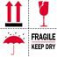 "Tape Logic® Labels, Fragile - Keep Dry, 4"" x 4"", Red/White/Black, 500/RL Thumbnail 1"