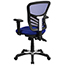 Flash Furniture Mid-Back Blue Mesh Multifunction Executive Swivel Ergonomic Office Chair with Adjustable Arms Thumbnail 6