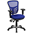 Flash Furniture Mid-Back Blue Mesh Multifunction Executive Swivel Ergonomic Office Chair with Adjustable Arms Thumbnail 1