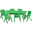 Flash Furniture Rectangular Height Adjustable Activity Table Set with 6 Chairs, Plastic, Green, 24'' W x 48'' L Thumbnail 1