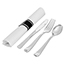 "Fineline® Disposable Cutlery Catering Kit, w/ Rolled Napkin (17 1/2"" x 15 1/2""), Fork, Spoon, Knife, Heavyweight, Silver, 100/CS Thumbnail 1"