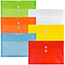 """JAM Paper Plastic Envelopes with Button & String Tie Closure, Legal Booklet, 9 3/4"""" x 14 1/2"""", Assorted Primary Colors, 12/PK Thumbnail 1"""