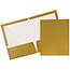 JAM Paper® Laminated Two-Pocket Glossy Folders, Gold, 100/CT Thumbnail 1