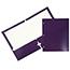 JAM Paper Laminated Two-Pocket Glossy 3 Hole Punch Folders, Purple, 25/PK Thumbnail 1