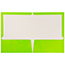 JAM Paper® Laminated Two-Pocket Glossy Folders, Lime Green, 100/CT Thumbnail 2