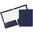 JAM Paper Laminated Two-Pocket Glossy Folders, Navy Blue, 50/PK Thumbnail 1