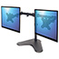 """Manhattan Universal Dual Monitor Stand with Double-Link Swing Arms - Up to 32"""" Screen Support - 35.27 lb Load Capacity - Desktop, Countertop - Steel - Black Thumbnail 2"""