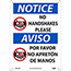 "NMC™ Rigid Plastic Sign, ""Notice - No Handshakes Please"", Bilingual, 10"" x 14"" Thumbnail 1"