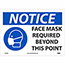 """NMC™ Adhesive Vinyl Sign, """"Notice - Face Mask Required Beyond This Point"""", 14"""" x 10"""" Thumbnail 1"""