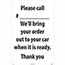 "NMC™ Corrugated A-Frame Plastic Sign, ""Please Call # - We'll Bring Your Order Out"", 24"" x 36"" Thumbnail 1"