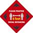 NMC™ Please Practice Social Distancing 6 FT, Red, 12 x 12, Pressure Sensitive Removable Vinyl .0045 Thumbnail 1