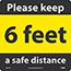 "NMC™ Removable Vinyl Sign/Label, ""Please Keep A Safe Distance - 6 Feet"", 12"" x 12"" Thumbnail 1"