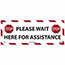 """NMC™ Removable Vinyl Sign/Label, """"Please Wait Here For Assistance - Stop"""", Floor, 20"""" x 8"""" Thumbnail 1"""