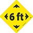 "NMC™ Floor Sign, ""6 Ft"" w/Arrows, TexWalk®, Black/Yellow, 8"" x 8"" Thumbnail 1"